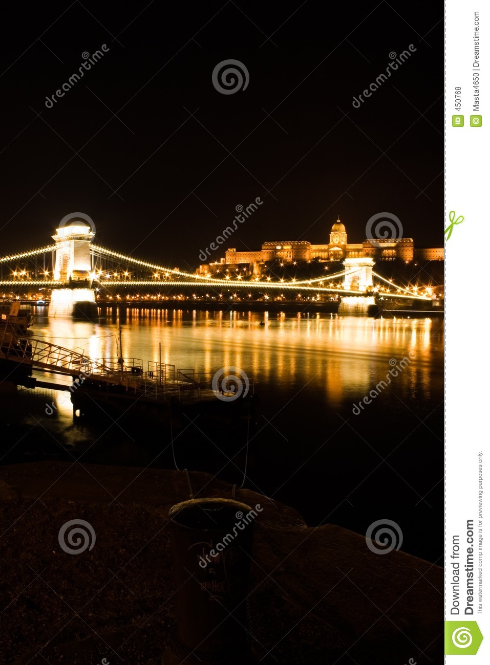 Download Budapest Chain Bridge And Castle Stock Photo - Image of dock, reflection: 450768