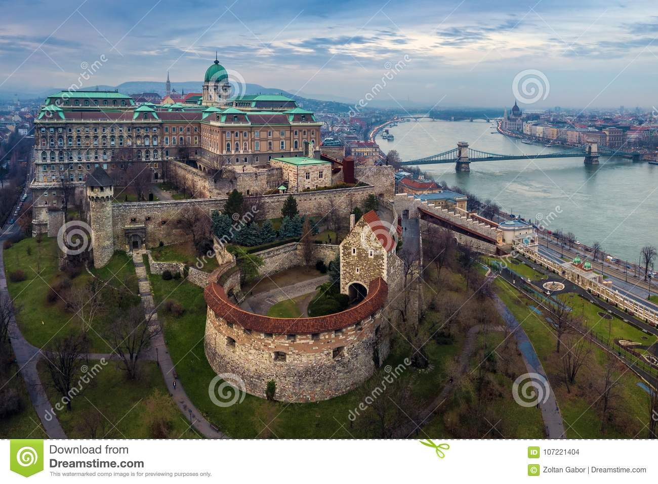 Budapest, Hungary - Aerial drone skyline view of Buda Castle Royal Palace with Szechenyi Chain Bridge