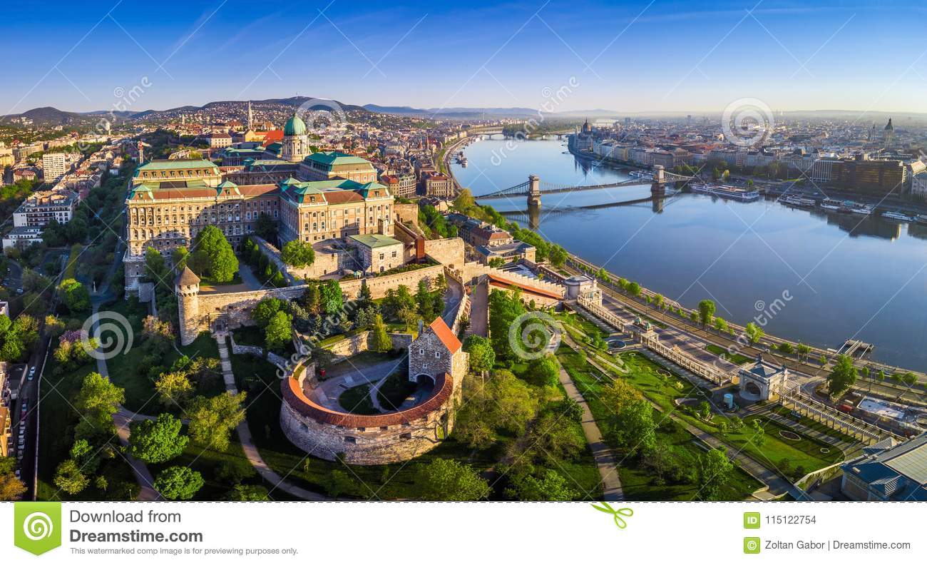 Budapest, Hungary - Aerial panoramic skyline view of Buda Castle Royal Palace with Szechenyi Chain Bridge