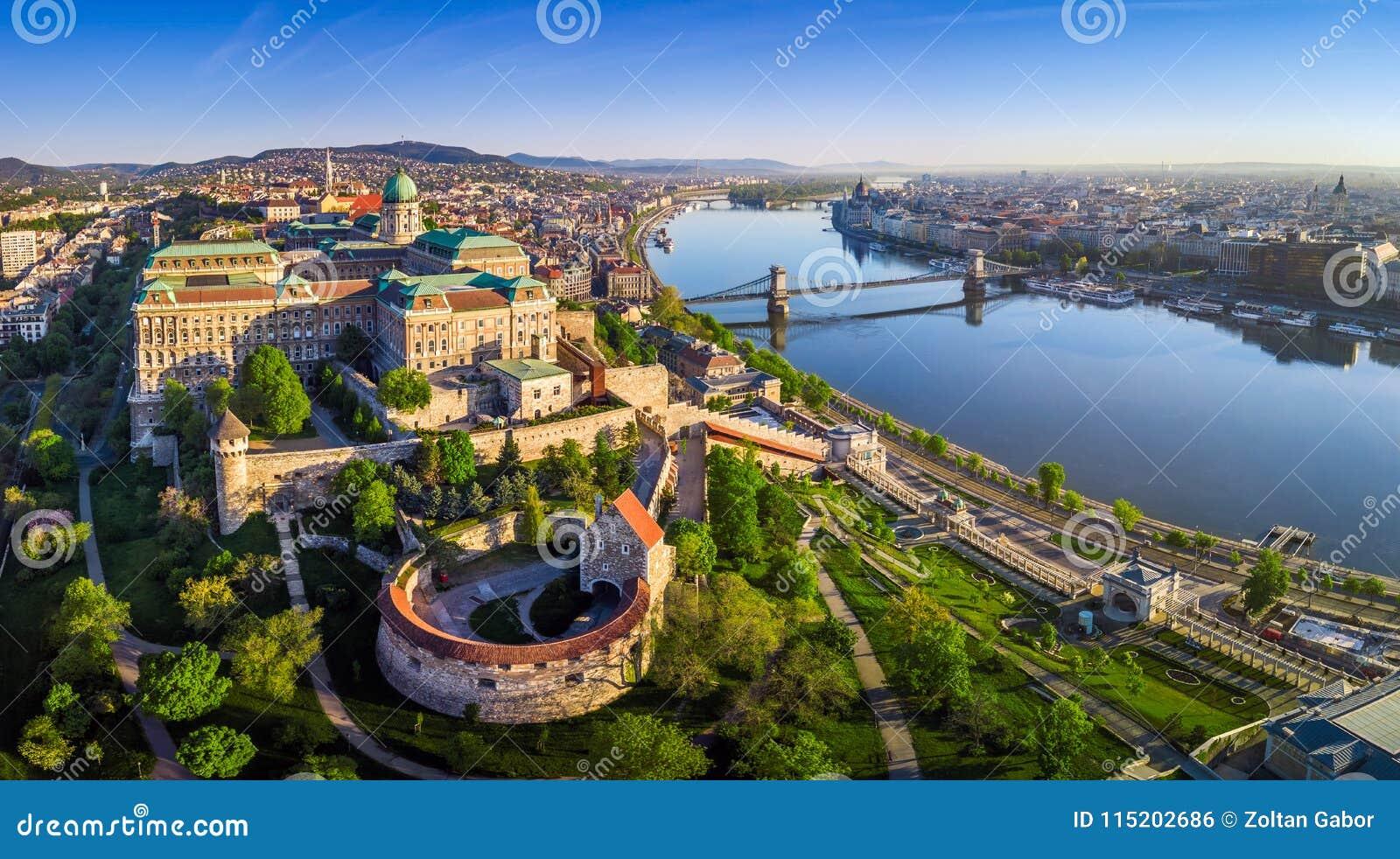 Budapest, Hungary - Aerial panoramic skyline view of Buda Castle Royal Palace with Szechenyi Chain Bridge