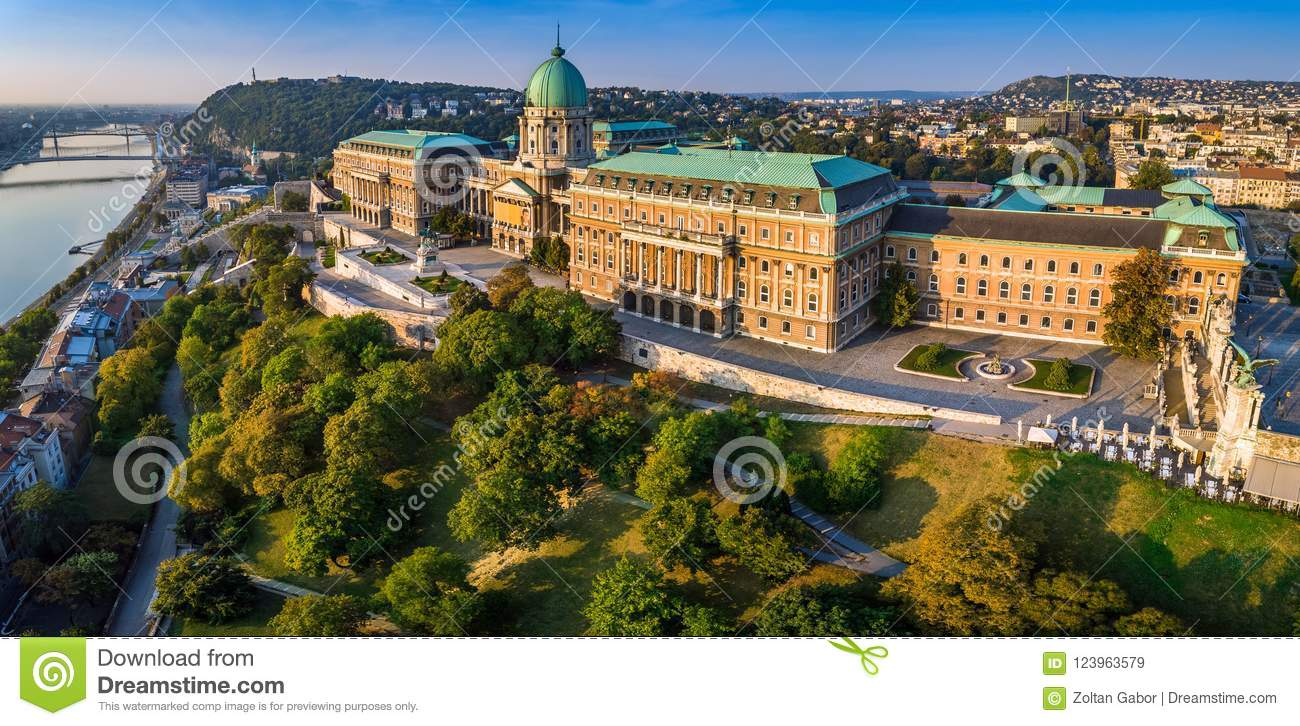 Budapest, Hungary - Aerial panoramic view of the beautiful Buda Castle Royal Palace at sunrise