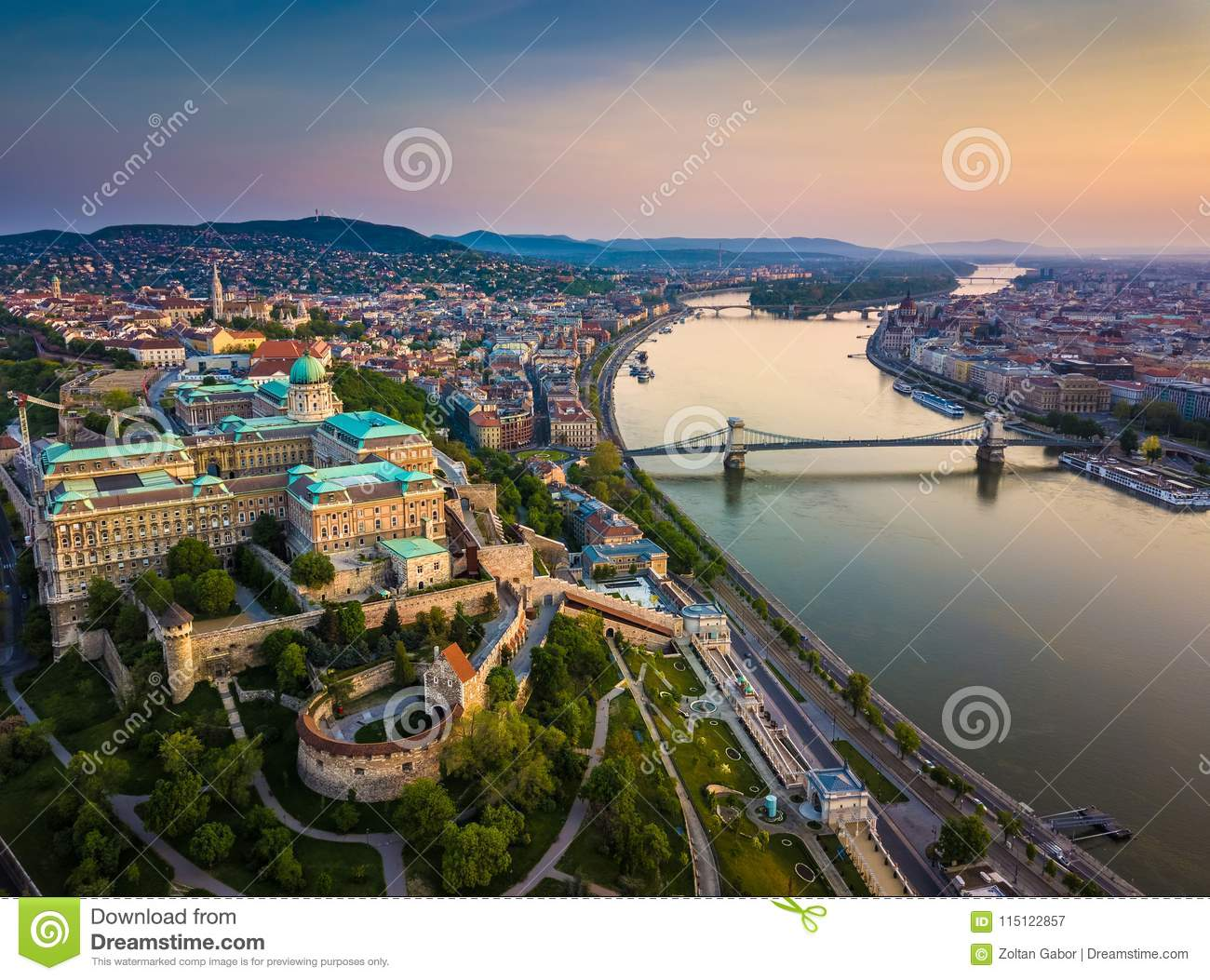 Budapest, Hungary - Aerial skyline view of Buda Castle Royal Palace and South Rondella with Castle District