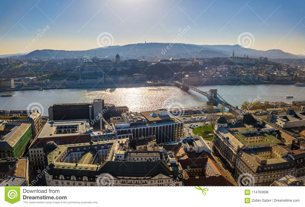 Budapest, Hungary - Aerial skyline view of Budapest with Buda Castle Royal Palace and Szechenyi Chain Bridge