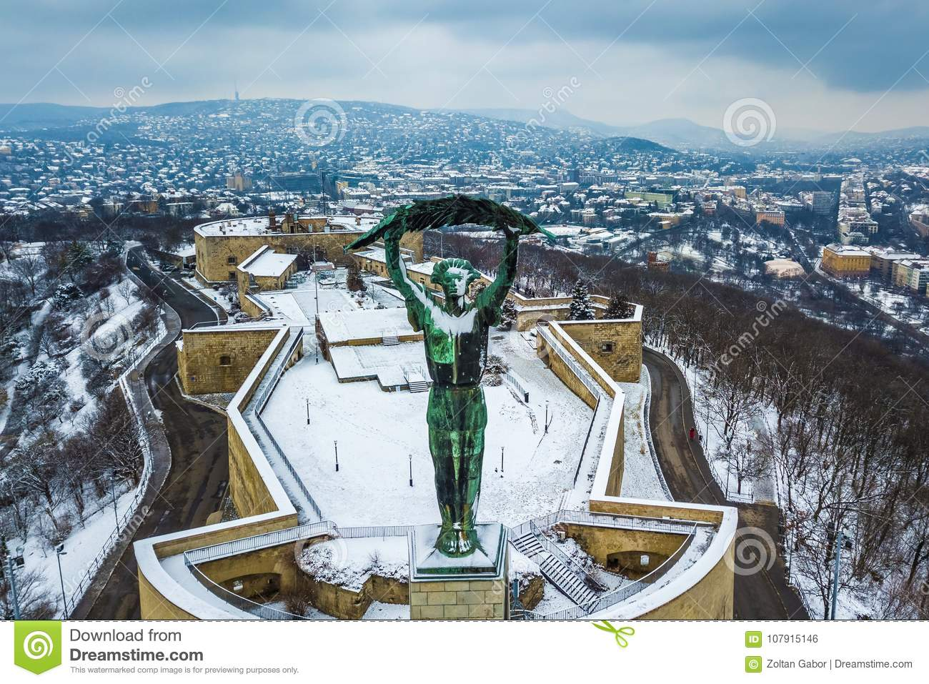 Budapest, Hungary - Aerial skyline view of Statue of Liberty with Buda side at background