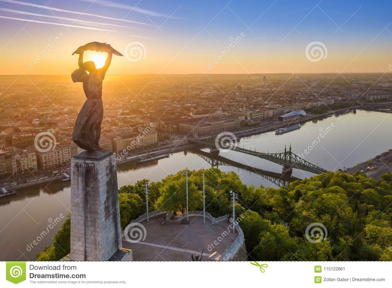 Budapest, Hungary - Aerial view of the beautiful Hungarian Statue of Liberty with Liberty Bridge and skyline of Budapest
