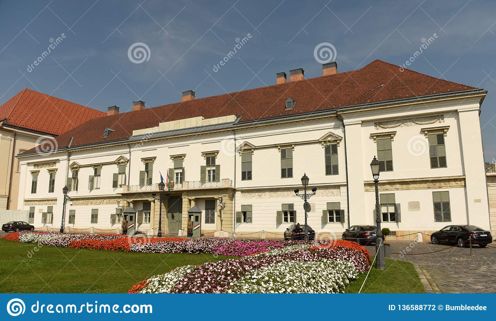 Budapest, Hungary - August 30, 2018: Sándor Palace Sandor-palota is the official residence of the President of Hungary, and the