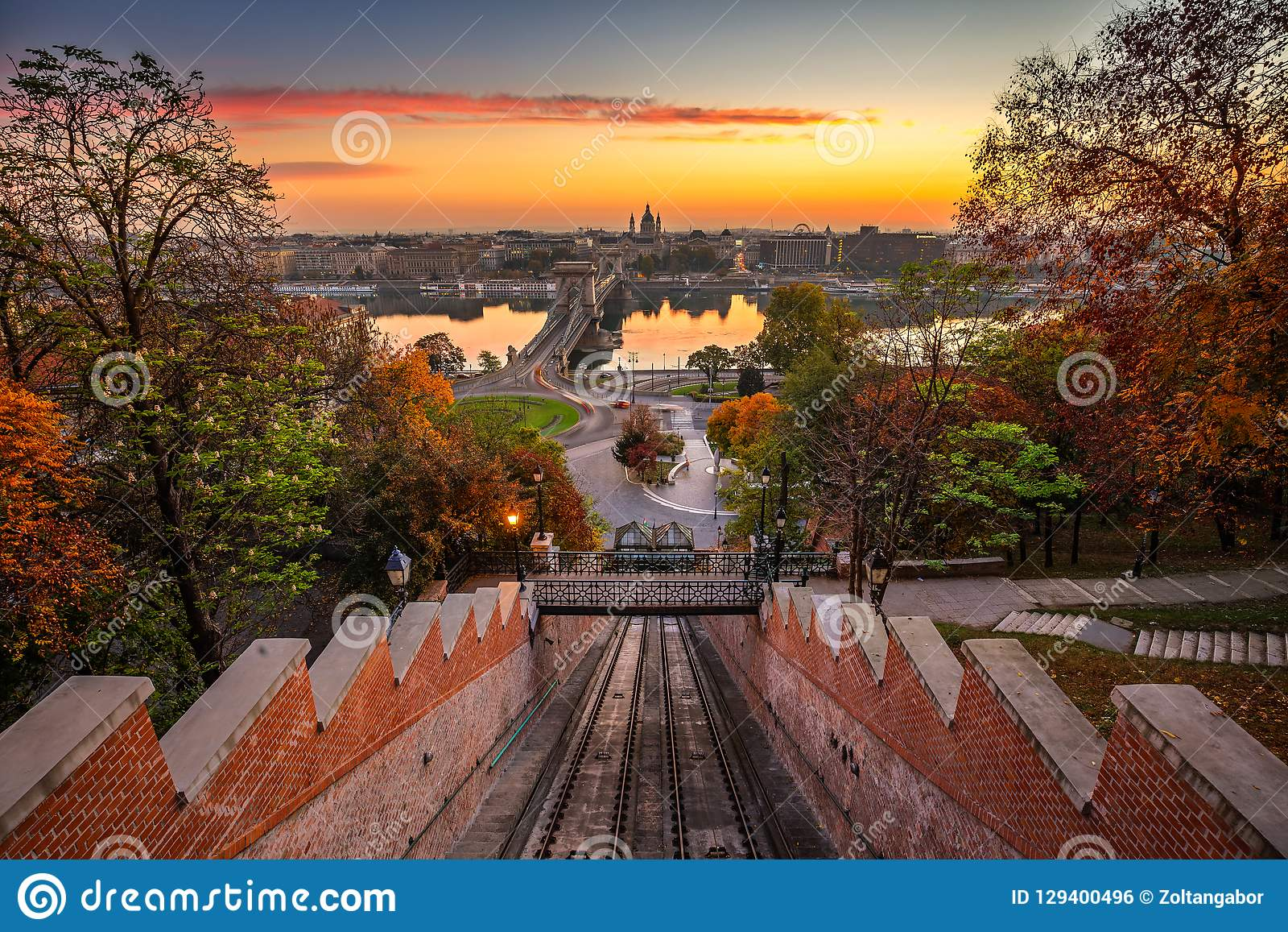 Budapest, Hungary - Autumn in Budapest. The Castle Hill Funicular Budavári Siklo with the Szechenyi Chain Bridge