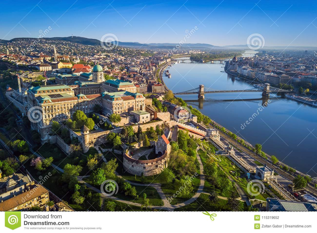 Budapest, Hungary - Beautiful aerial skyline view of Buda Castle Royal Palace and South Rondella at sunset