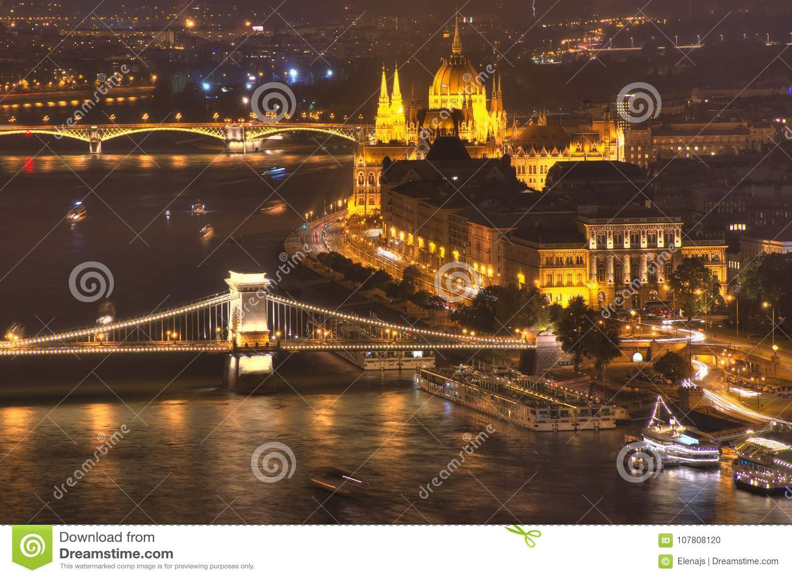 Budapest, Hungary, Budapest Parliament, Chain bridge, Danube river - night picture