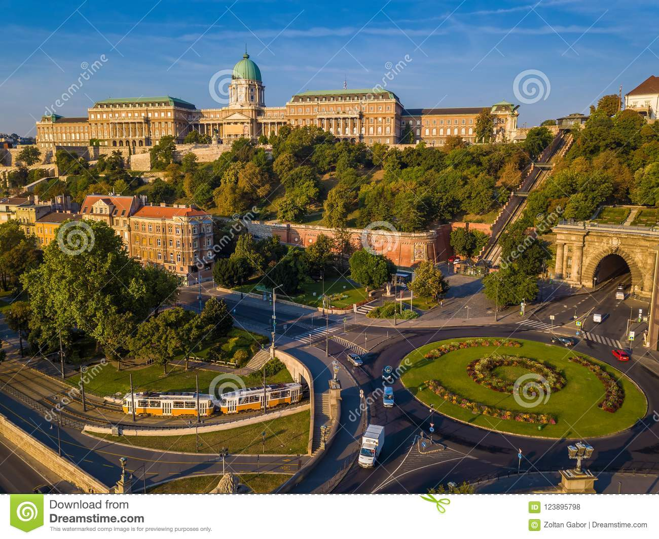 Budapest, Hungary - Clark Adam square roundabout from above at sunrise with Buda Castle Royal Palace