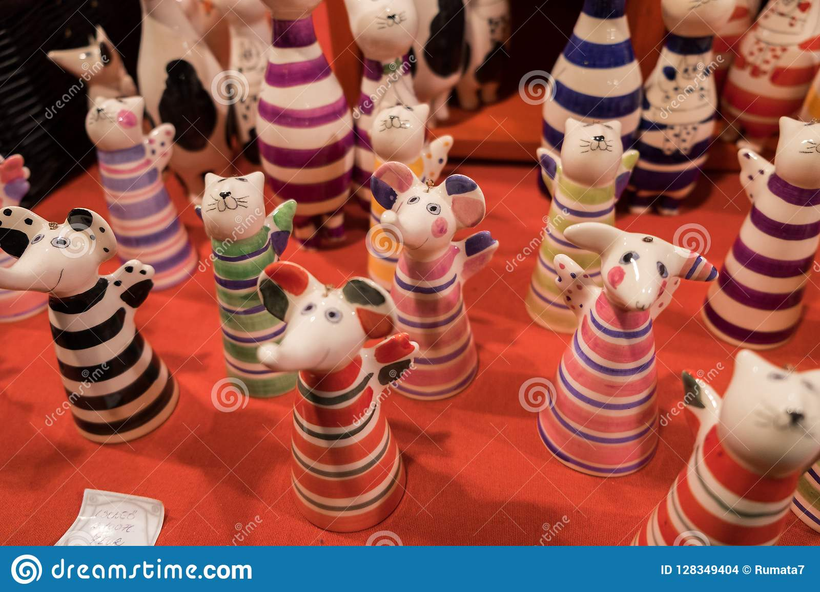 Funny ceramic cats and mouses figurines for sale