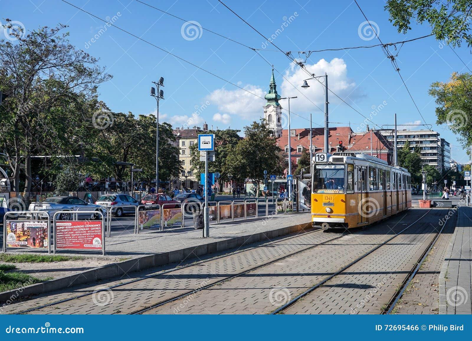 BUDAPEST, HUNGARY/EUROPE - SEPTEMBER 21 : Tram in Budapest Hungary on September 21, 2014. Unidentified people.