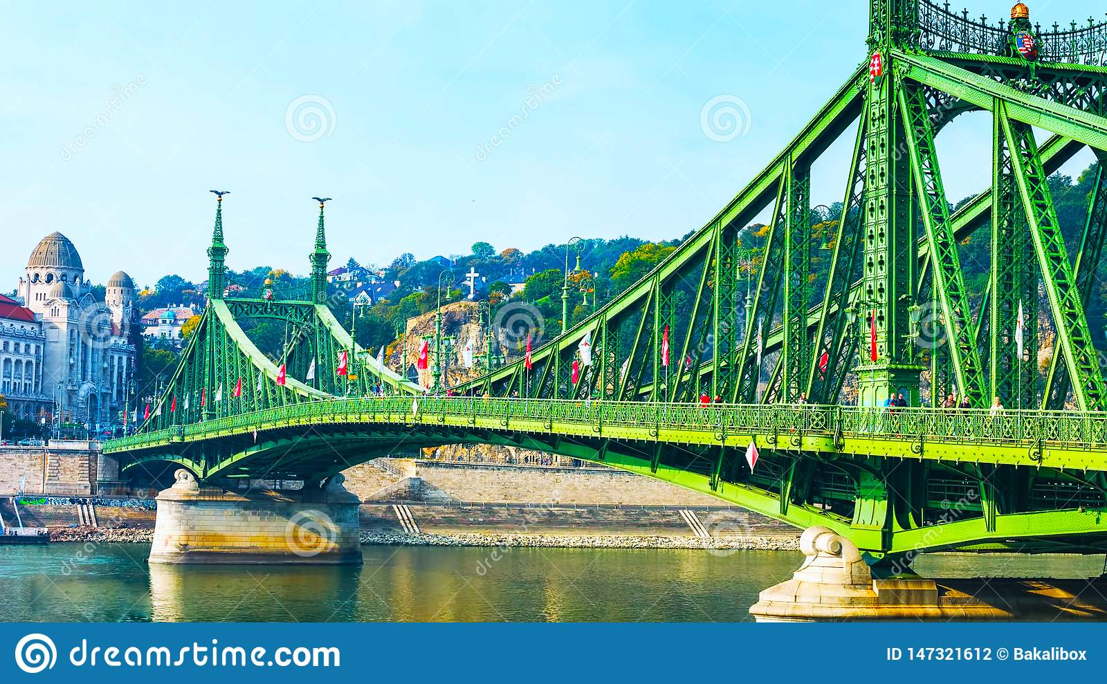 Budapest, Hungary - MAI 01, 2019 : Chain bridge on Danube river in Budapest city. Hungary. Urban landscape panorama with old