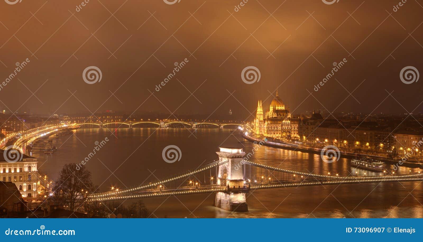 Budapest, Hungary by night - Chain bridge, Hungarian Parliament Building and Margaret bridge
