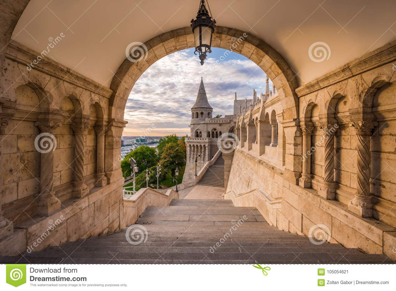 Budapest, Hungary - North gate of the famous Fisherman`s Bastion
