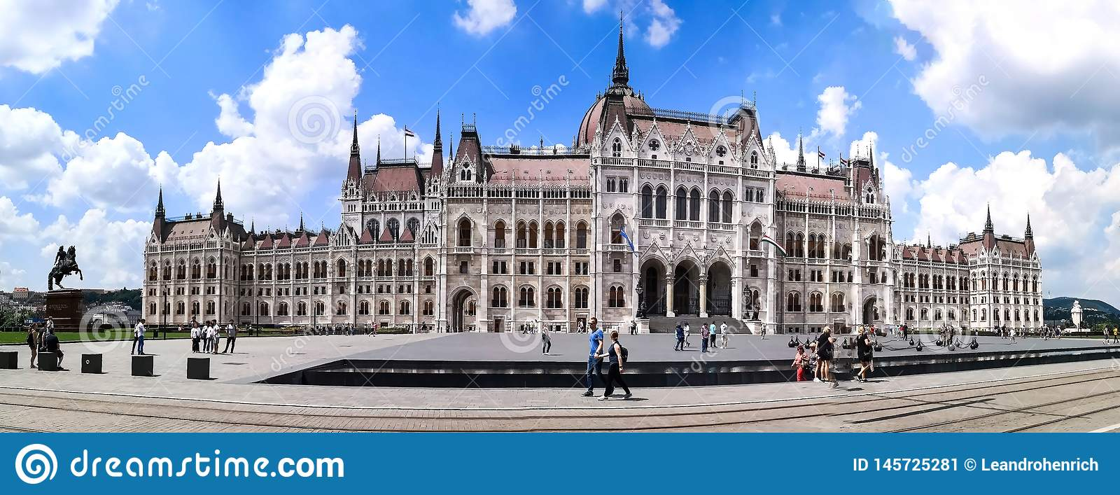 Budapest, Budapest/Hungary; 05/27/2018: a panoramic front view of the Parliament building of Budapest on the summer of 2018, with