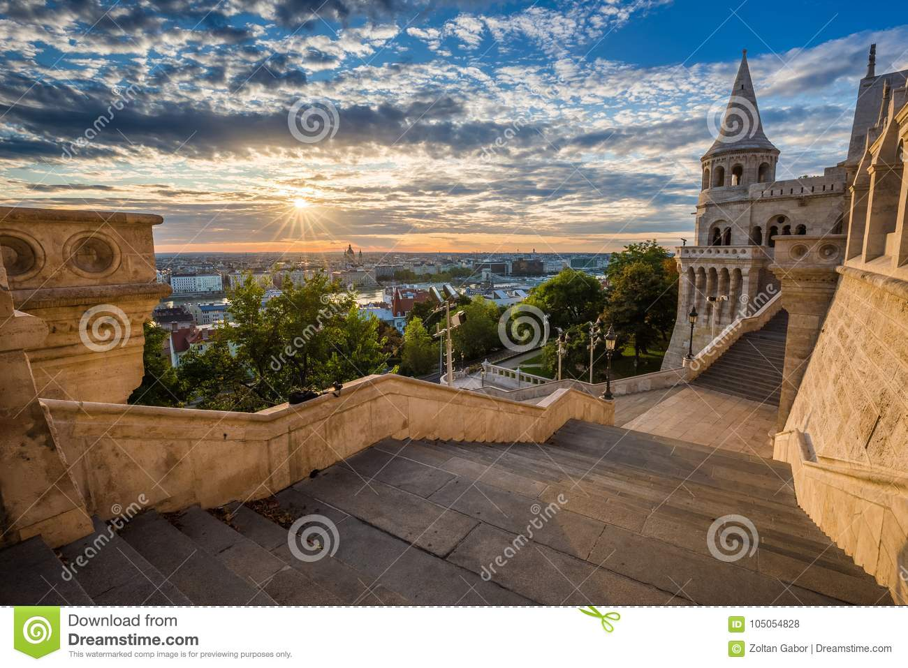 Budapest, Hungary - Staircase of the famous Fisherman Bastion on a beautiful sunny morning