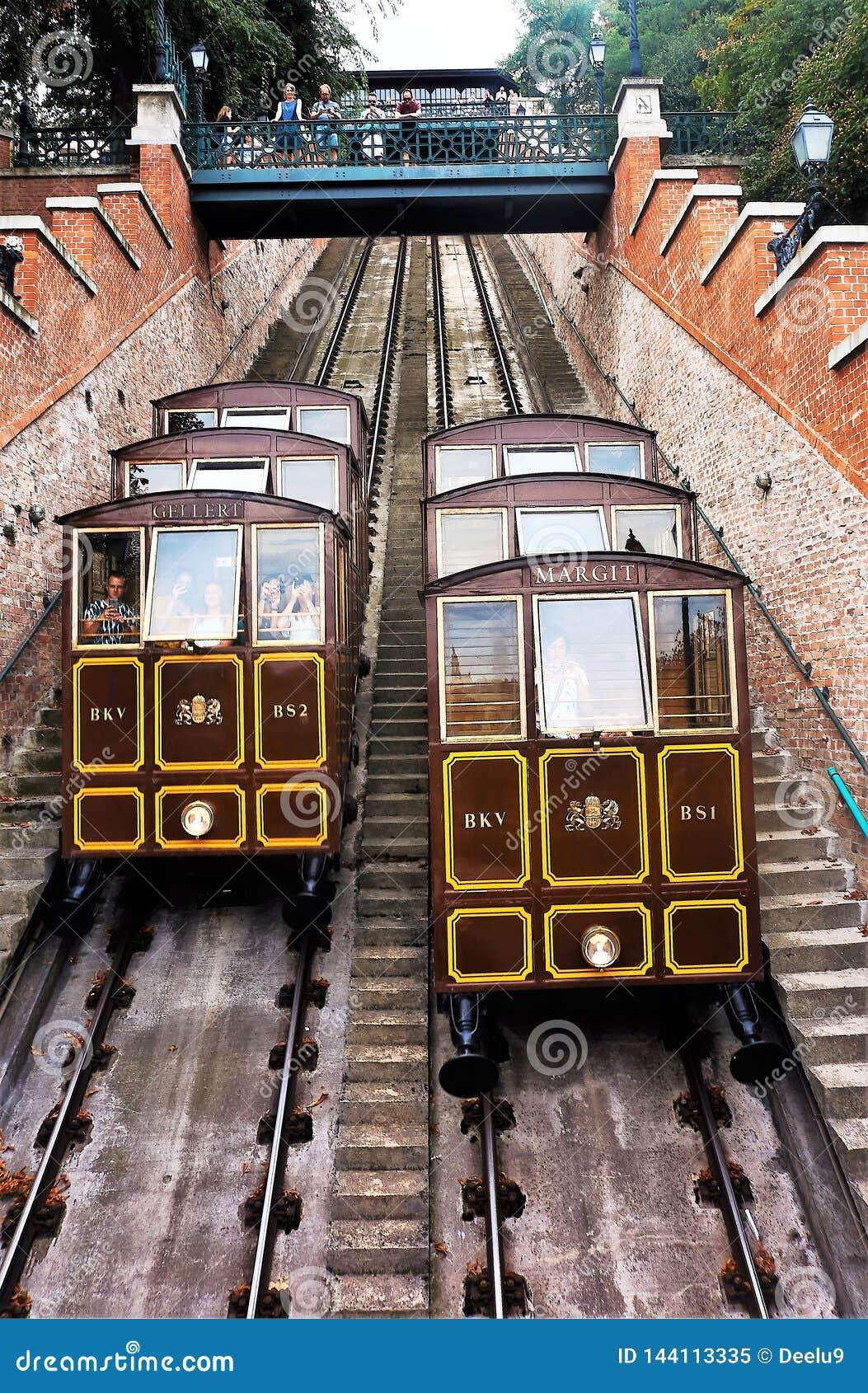 08/11/2018 Budapest, Hungría Tranvía funicular de Buda Castle Hill
