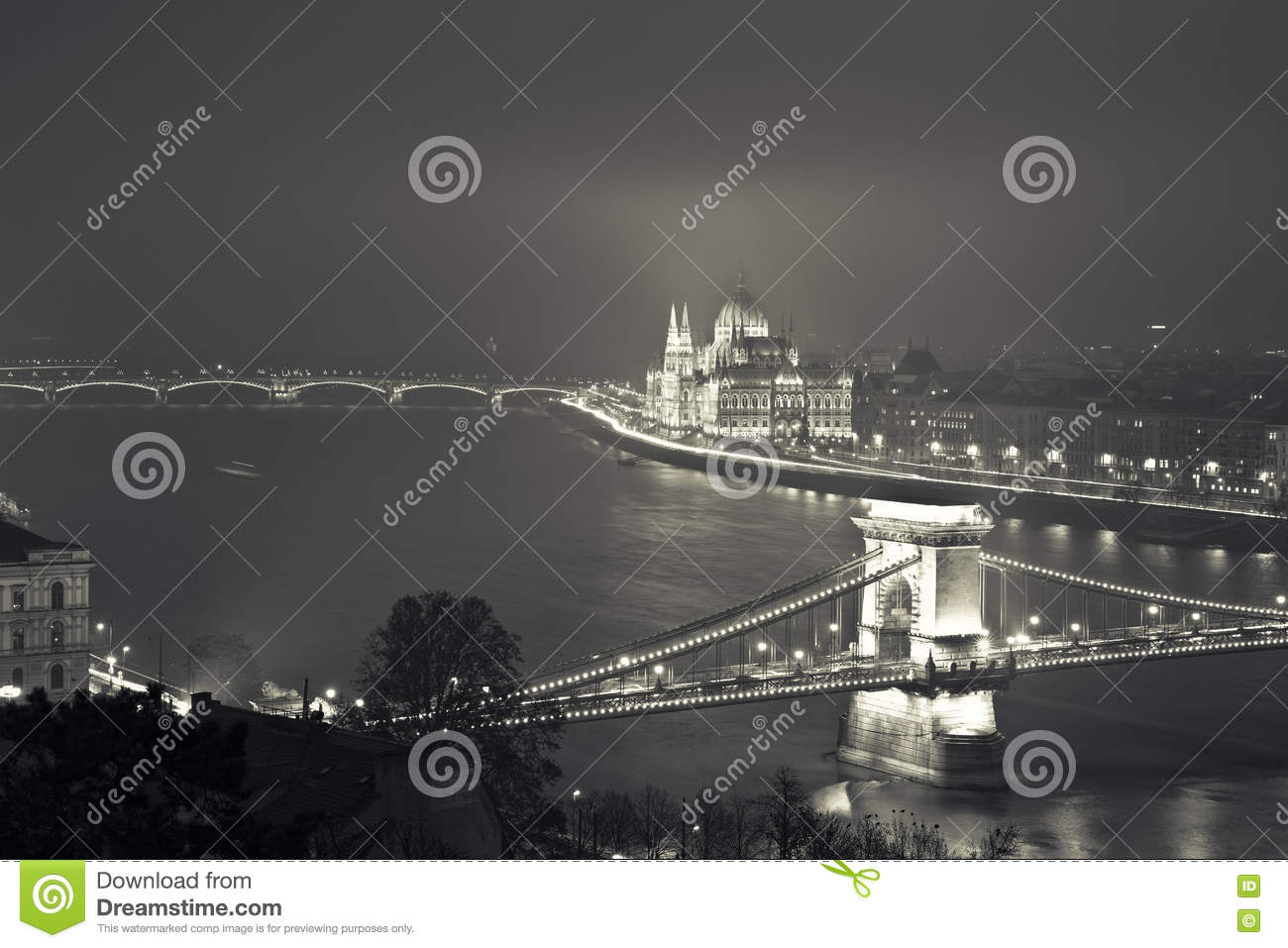 Budapest At Night, Hungary, View On The Chain Bridge and the Par