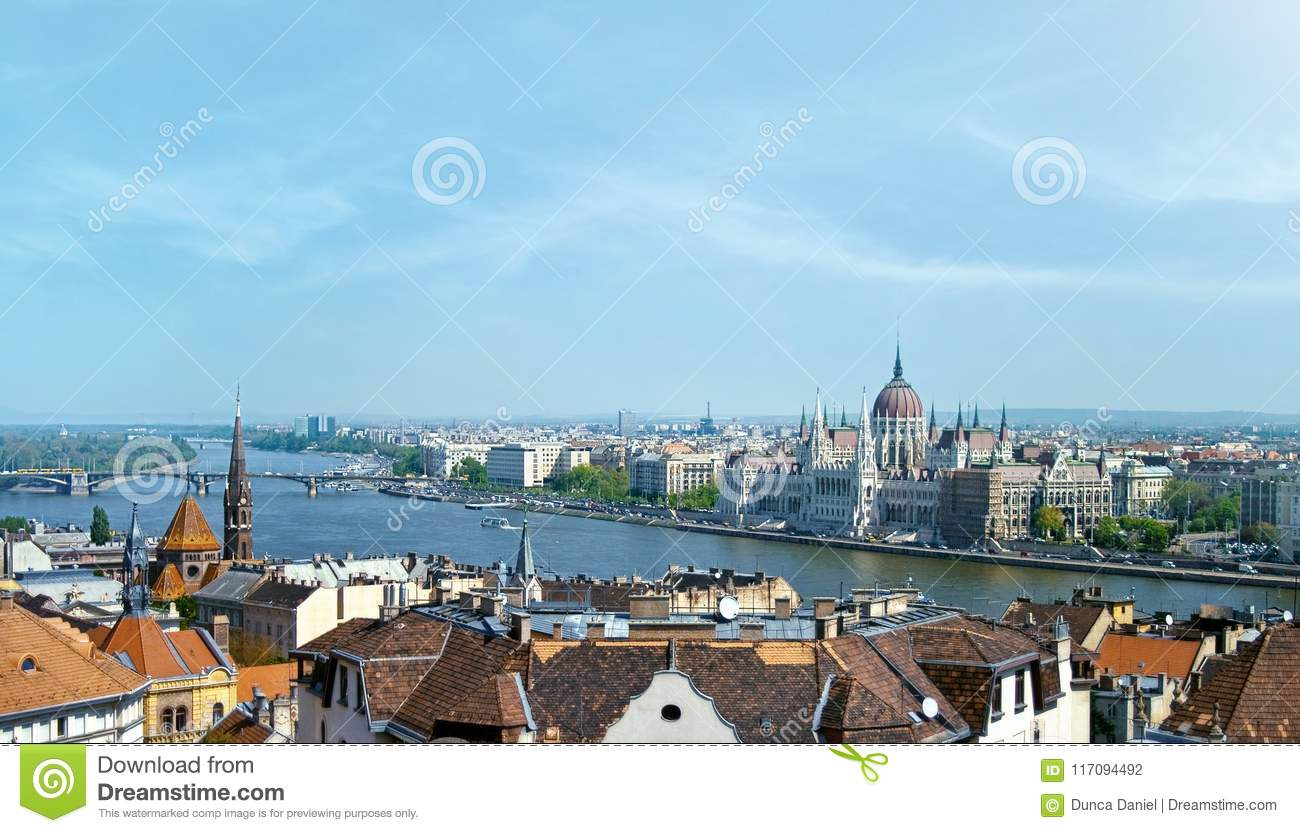 Budapest panoramic view of Danube and Parliament Building