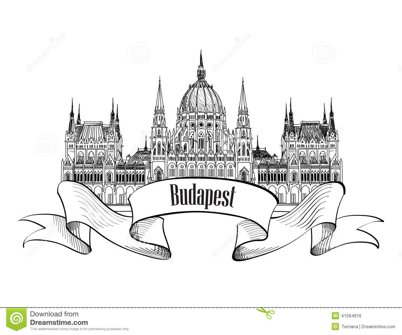 Budapest parlament building stock vector illustration of for Sketch online free
