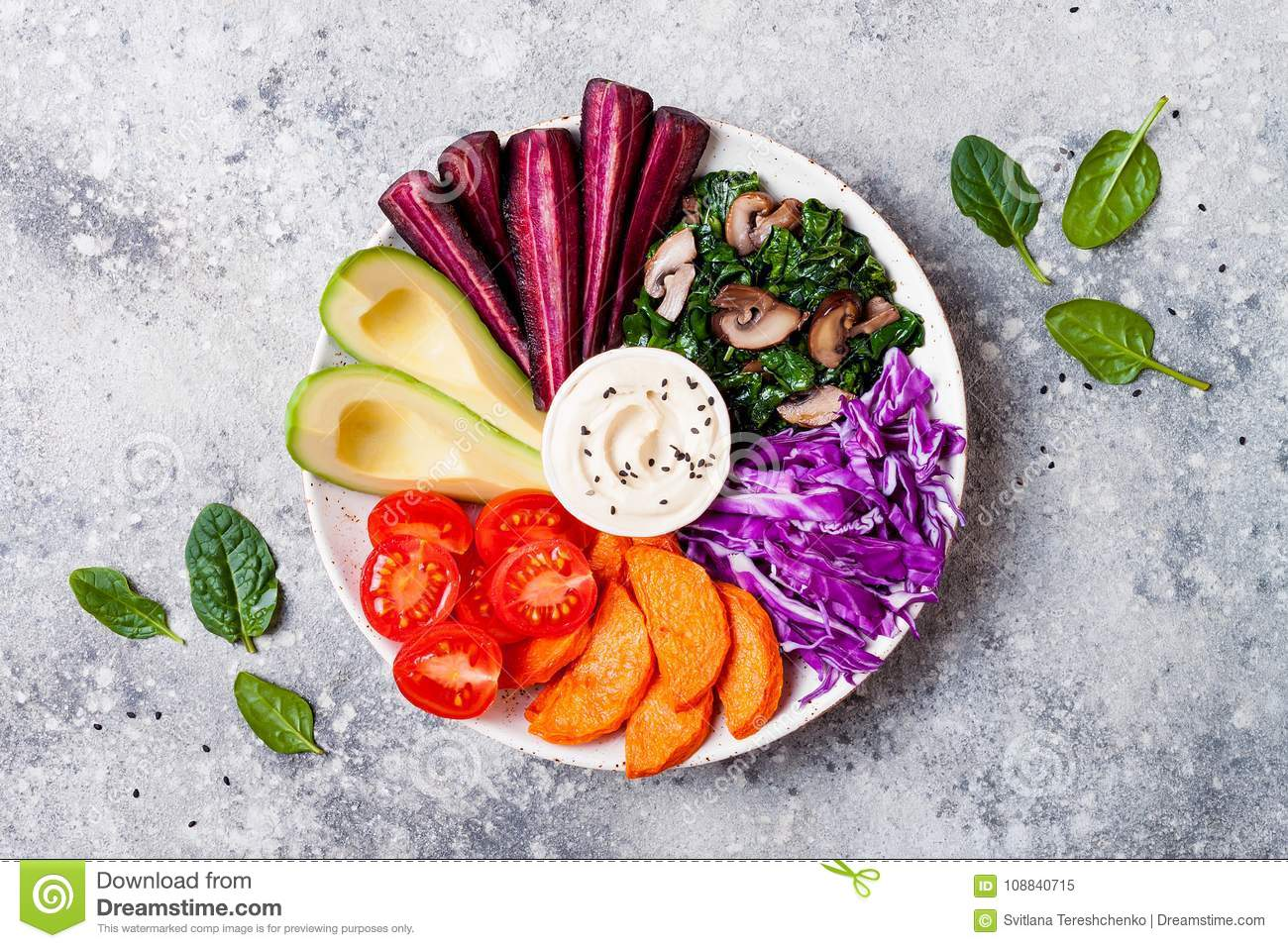 Buddha Bowl With Roasted Butternut Hummus Cabbage Healthy Vegetarian Appetizer Or Snack Platter Winter Veggies Detox Lunch Stock Image Image Of Concrete Lunch 108840715