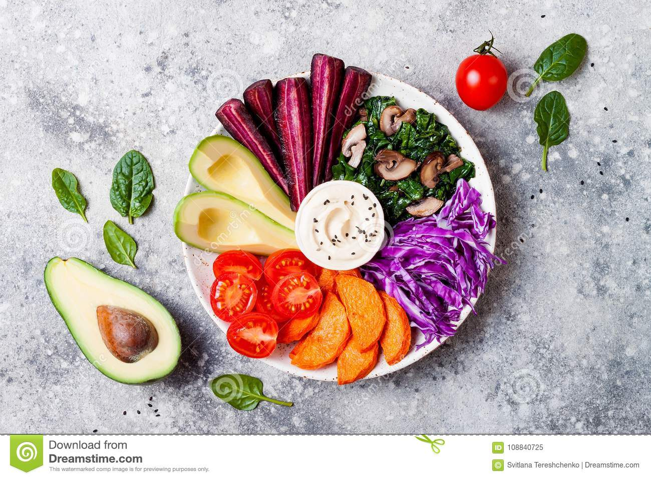 Buddha Bowl With Roasted Butternut Hummus Cabbage Healthy Vegetarian Appetizer Or Snack Platter Winter Veggies Detox Lunch Stock Image Image Of Diet Carrot 108840725