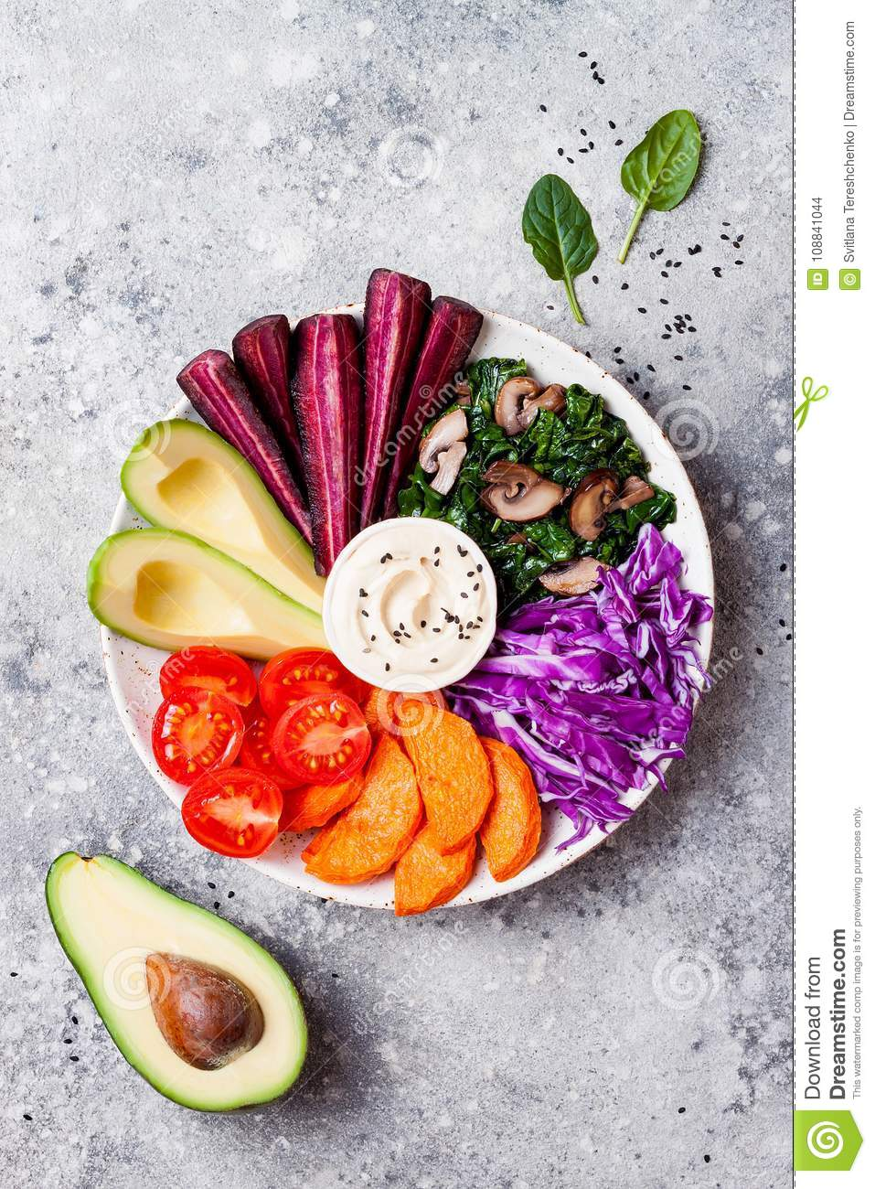 Buddha Bowl With Roasted Butternut Hummus Cabbage Healthy Vegetarian Appetizer Or Snack Platter Winter Veggies Detox Lunch Stock Photo Image Of Plate Avocado 108841044