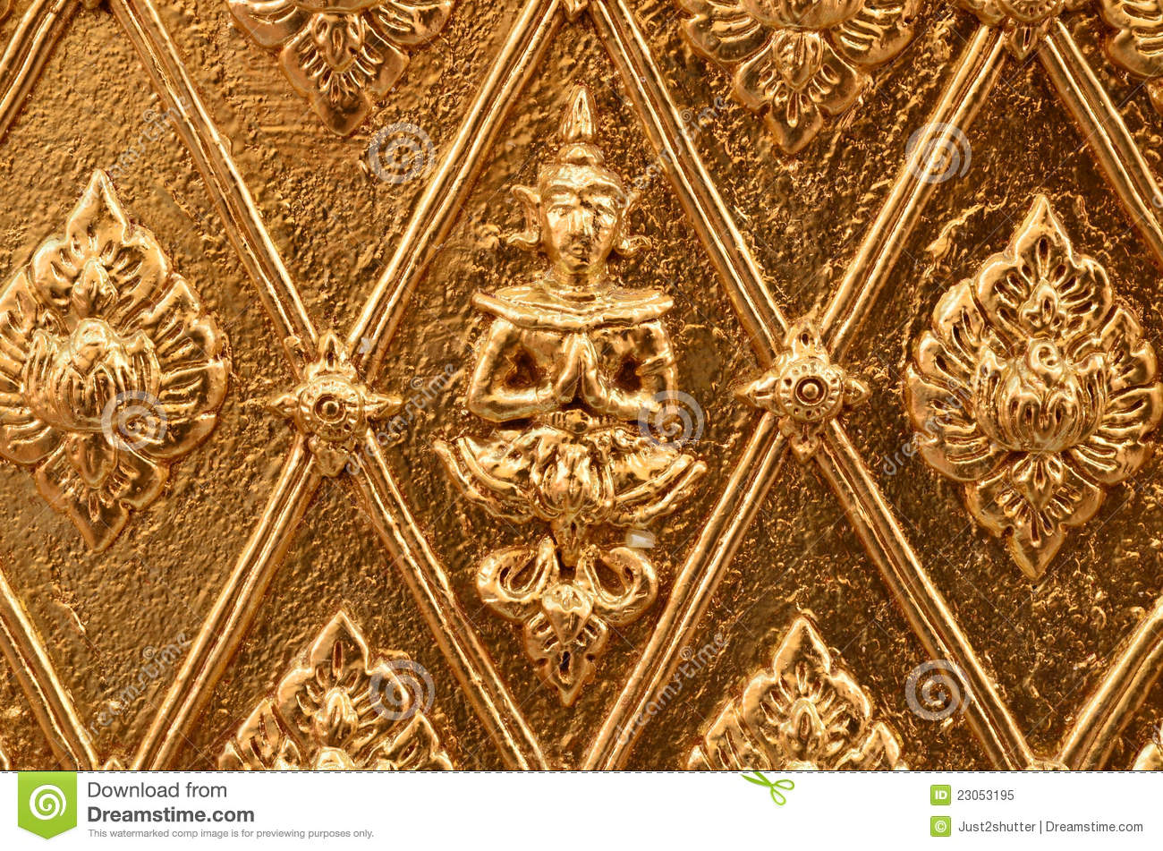 Buddha carved gold wall royalty free stock photo image