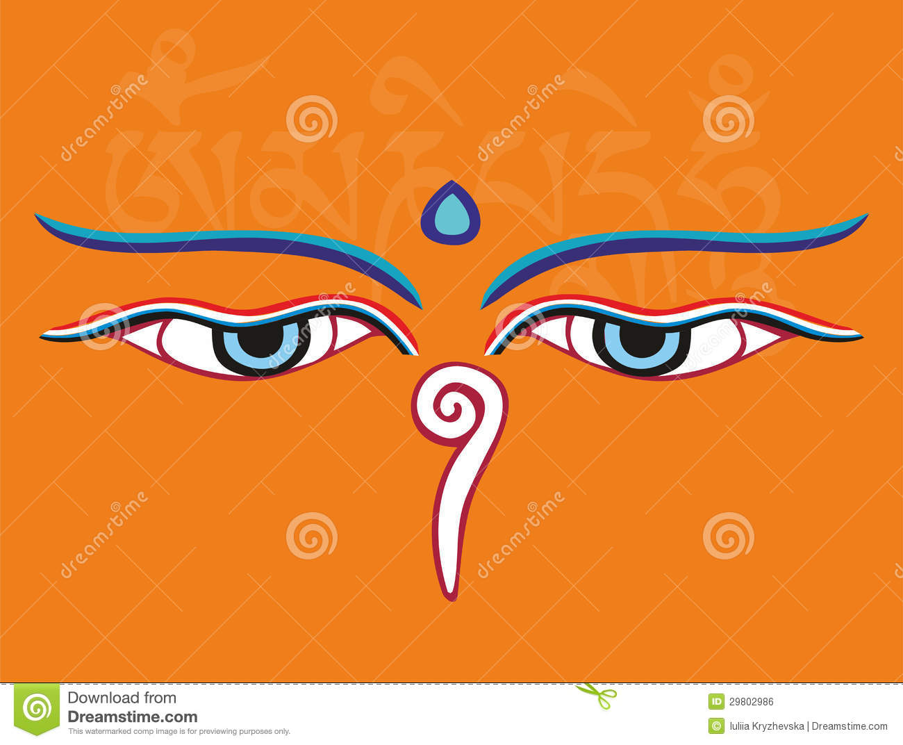 Buddha Eyes Or Wisdom Eyes Holy Religious Symbol Stock Vector