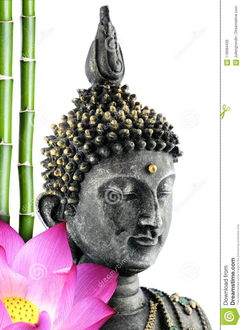 Buddha Face With Lotus Flower And Bamboo Stem Stock Photo Image Of