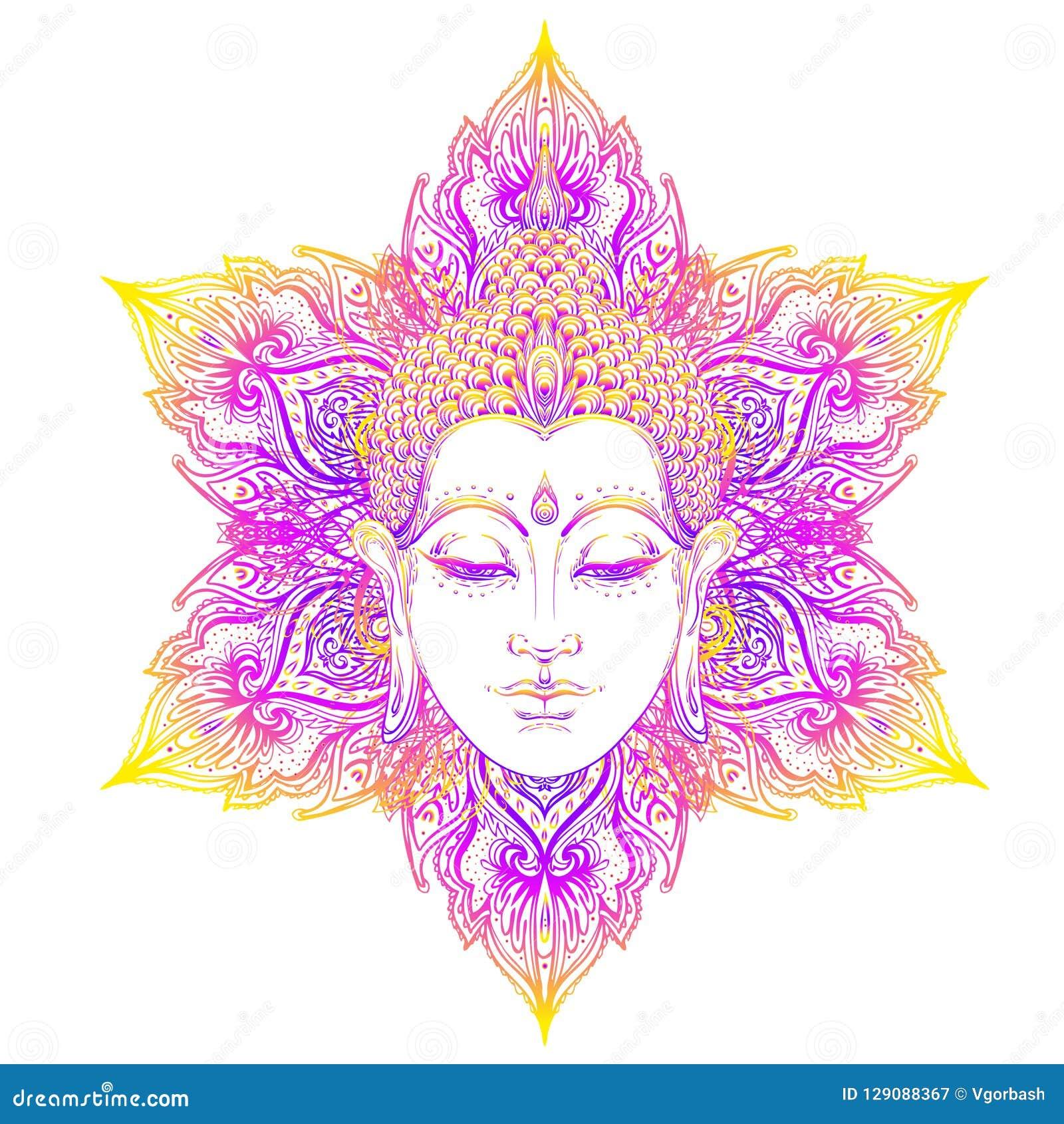 d2001dae602f4 Buddha face over ornate mandala round pattern. Esoteric vintage vector  illustration. Indian, Buddhism, spiritual art. Hippie tattoo, spirituality,  Thai god, ...