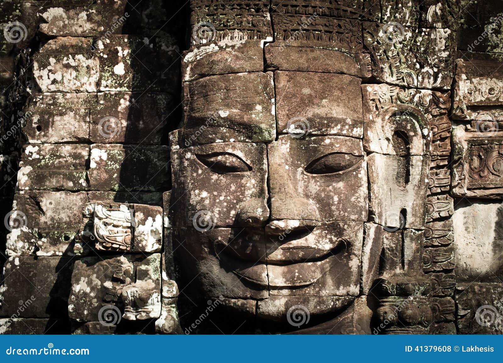Buddha faces of Bayon temple at Angkor Wat. Cambodia