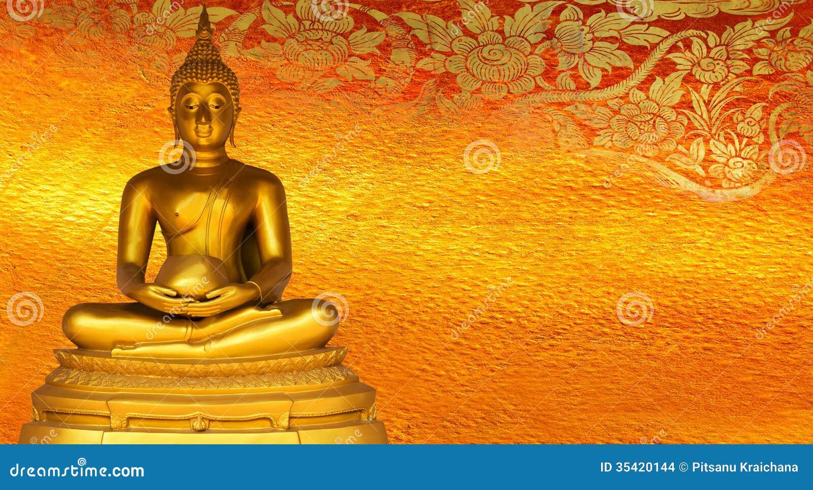 Buddha gold statue golden background patterns Thailand.