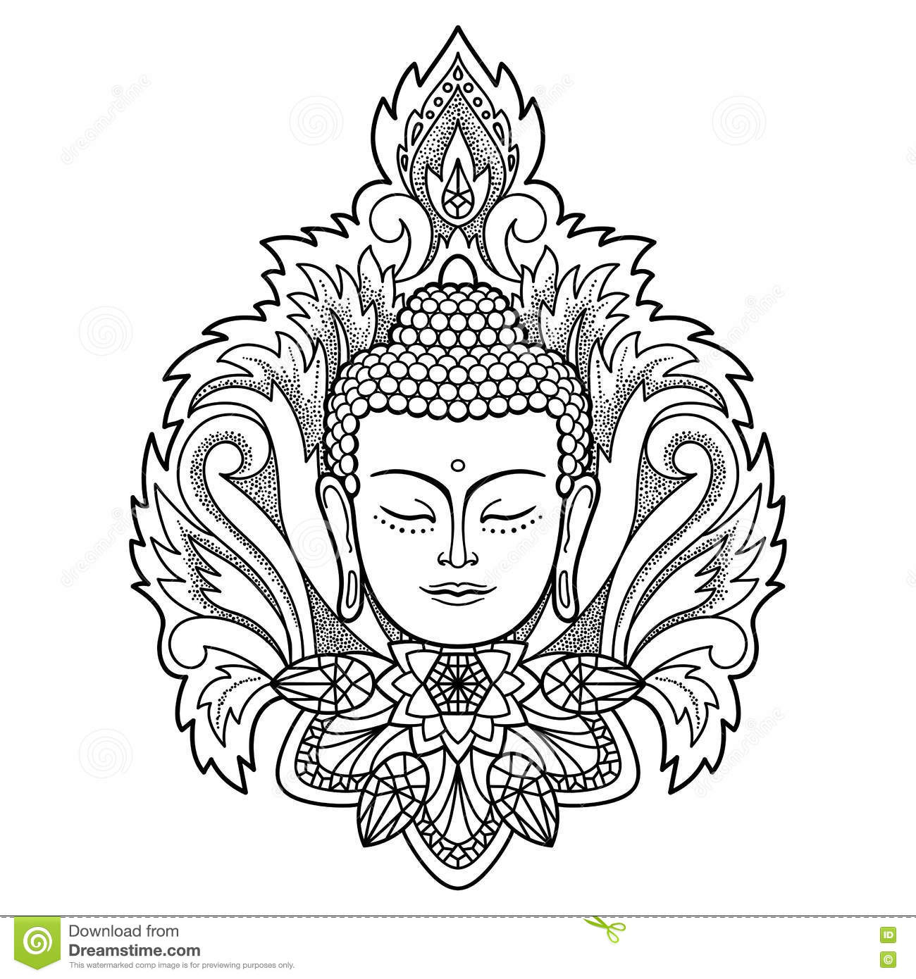 buddha head on floral background stock vector image 80695629