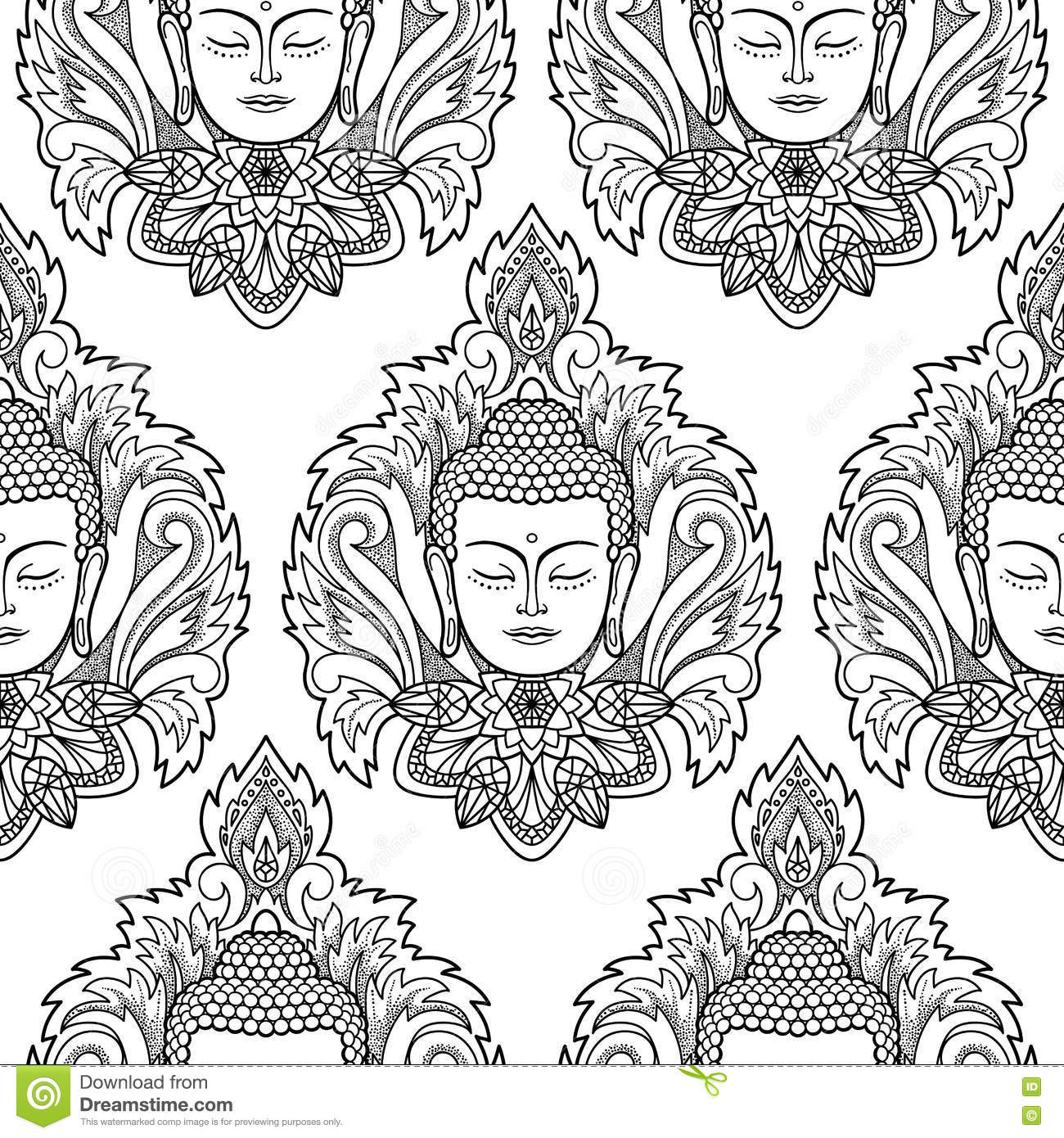 buddha head and lotus seamless pattern stock vector image 80695838