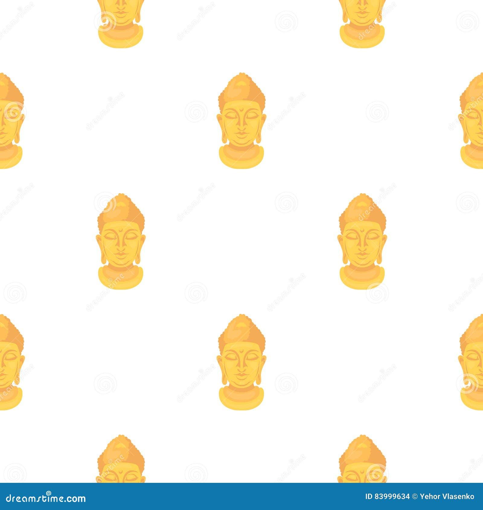 Buddha icon in cartoon style on white background. Religion pattern stock vector illustration.