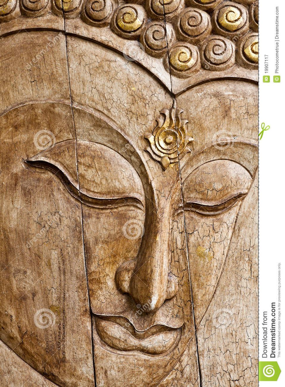 Buddha Image In Thai Style Wood Carving Stock Image