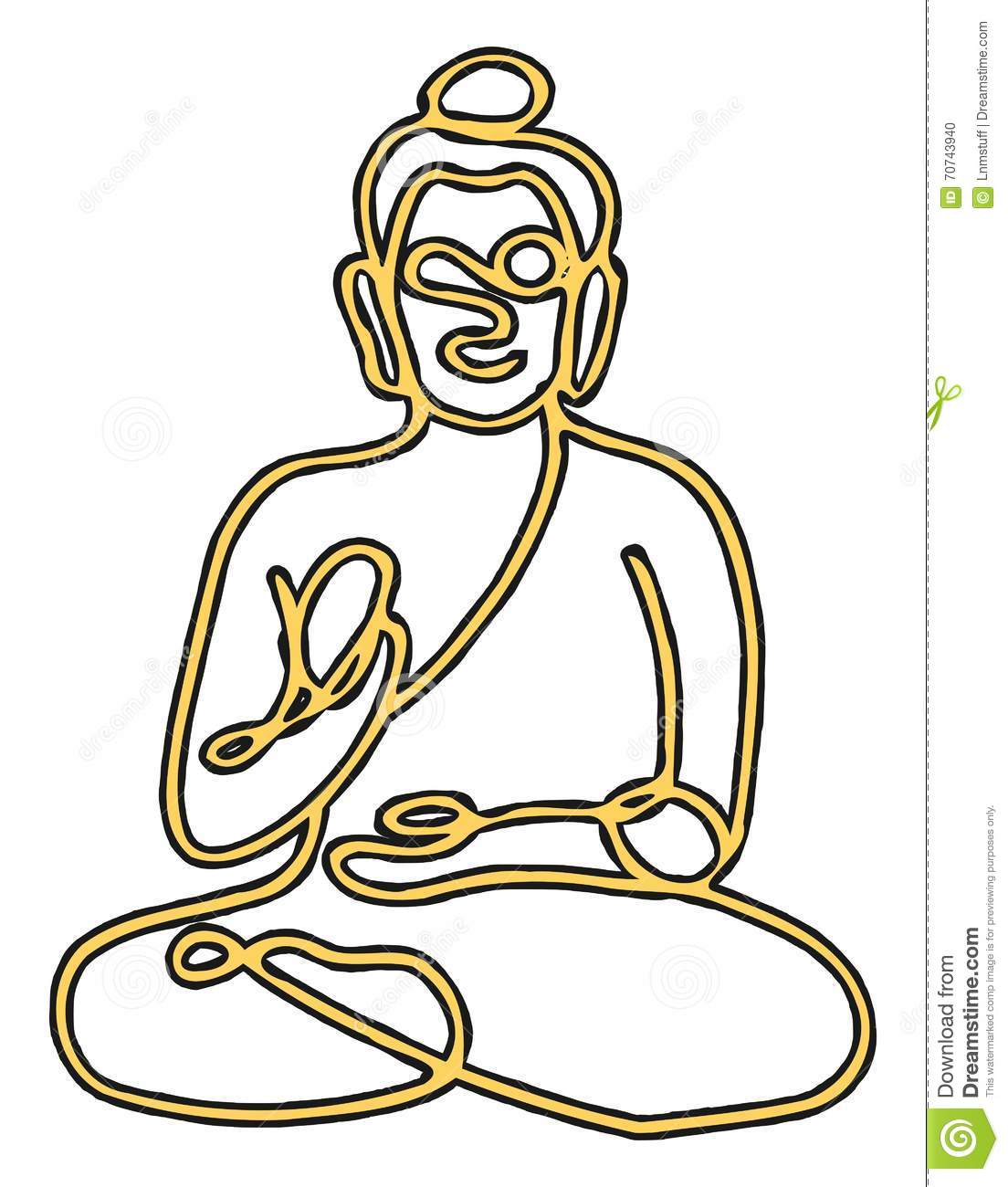 Vector Drawing Lines Html : Buddha line drawing stock vector image