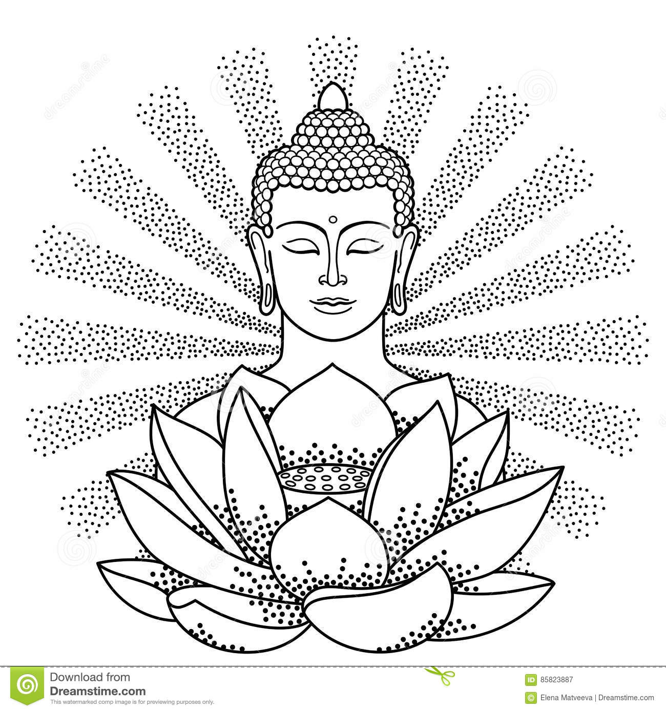 Buddha And Lotus With Beam Of Light Stock Vector - Illustration of ...