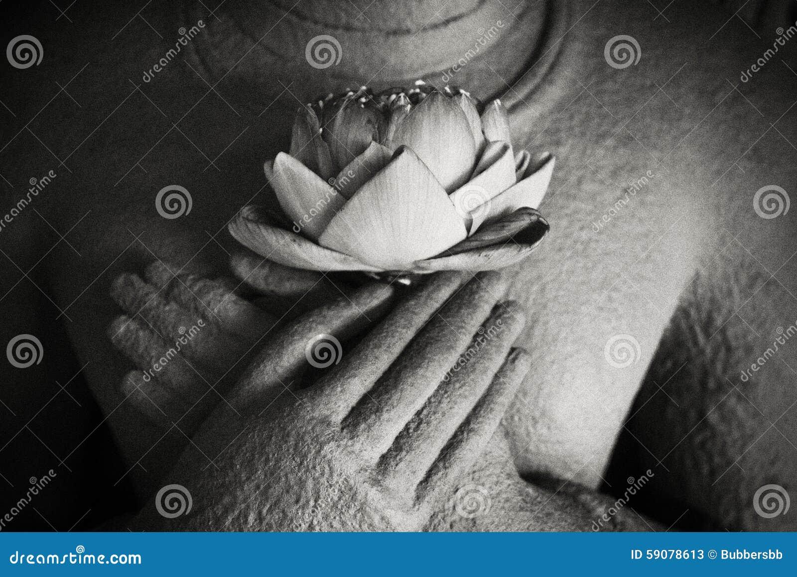 Buddha lotus in hand