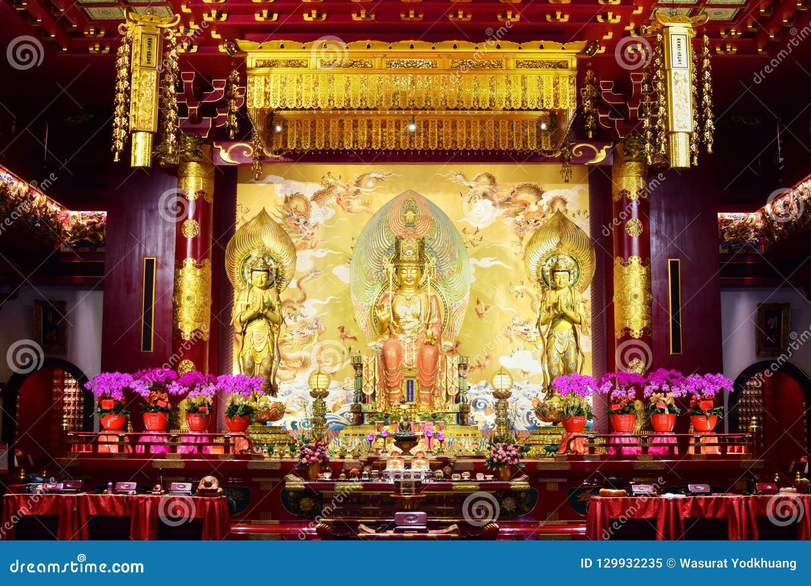 Buddha Maitreya statua w Buddha zębu relikwii świątyni, Singapur