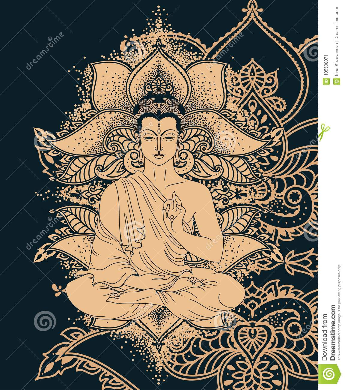 Buddha In Meditation On Beautiful And Magical Ornament Formed From