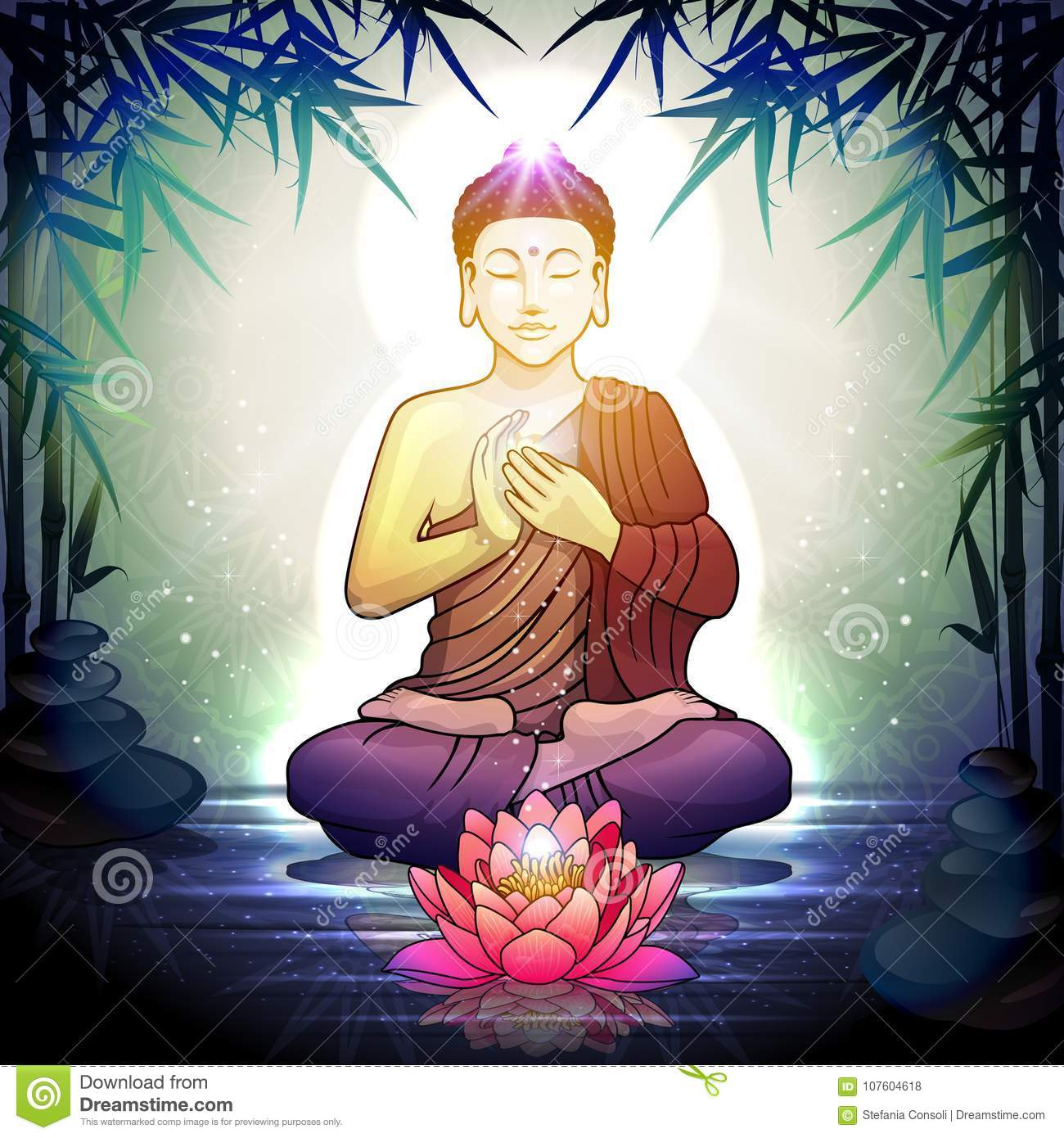Buddha In Meditation With Lotus Flower Stock Illustration