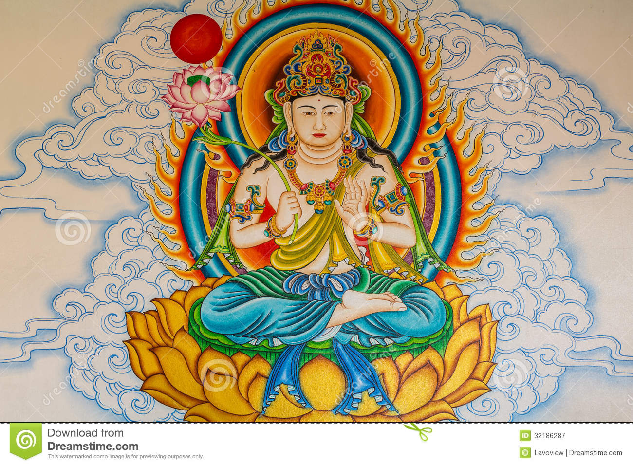 Buddha painting on the wall stock image image 32186287 for Buddha mural paintings