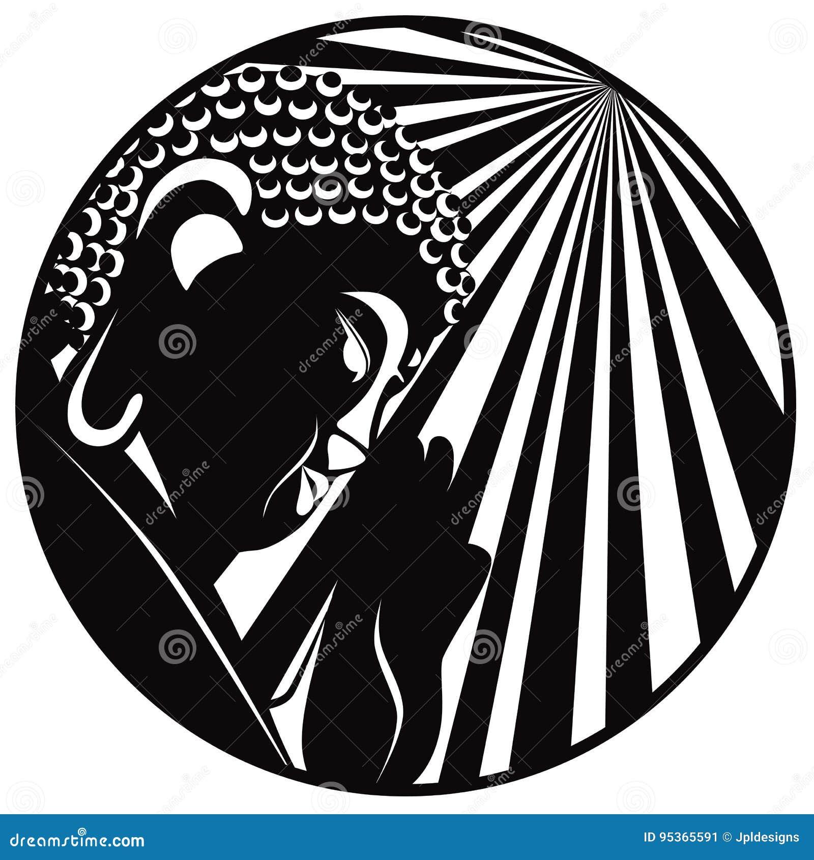 Buddha raised hand with light rays circle black and white vector buddha raised hand with light rays circle black and white vector biocorpaavc Choice Image