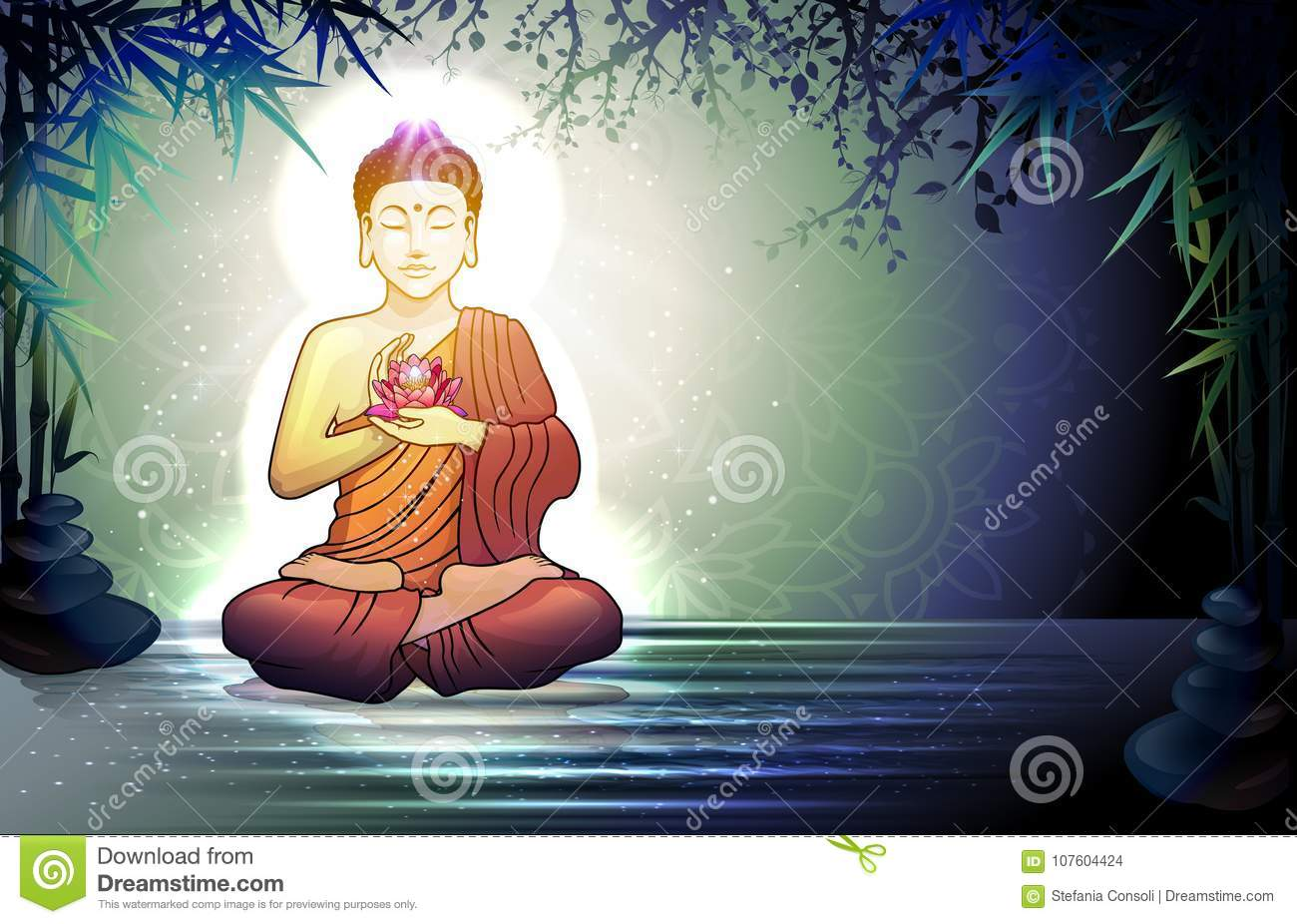Buddha And Reflection In The Water Stock Vector Illustration Of
