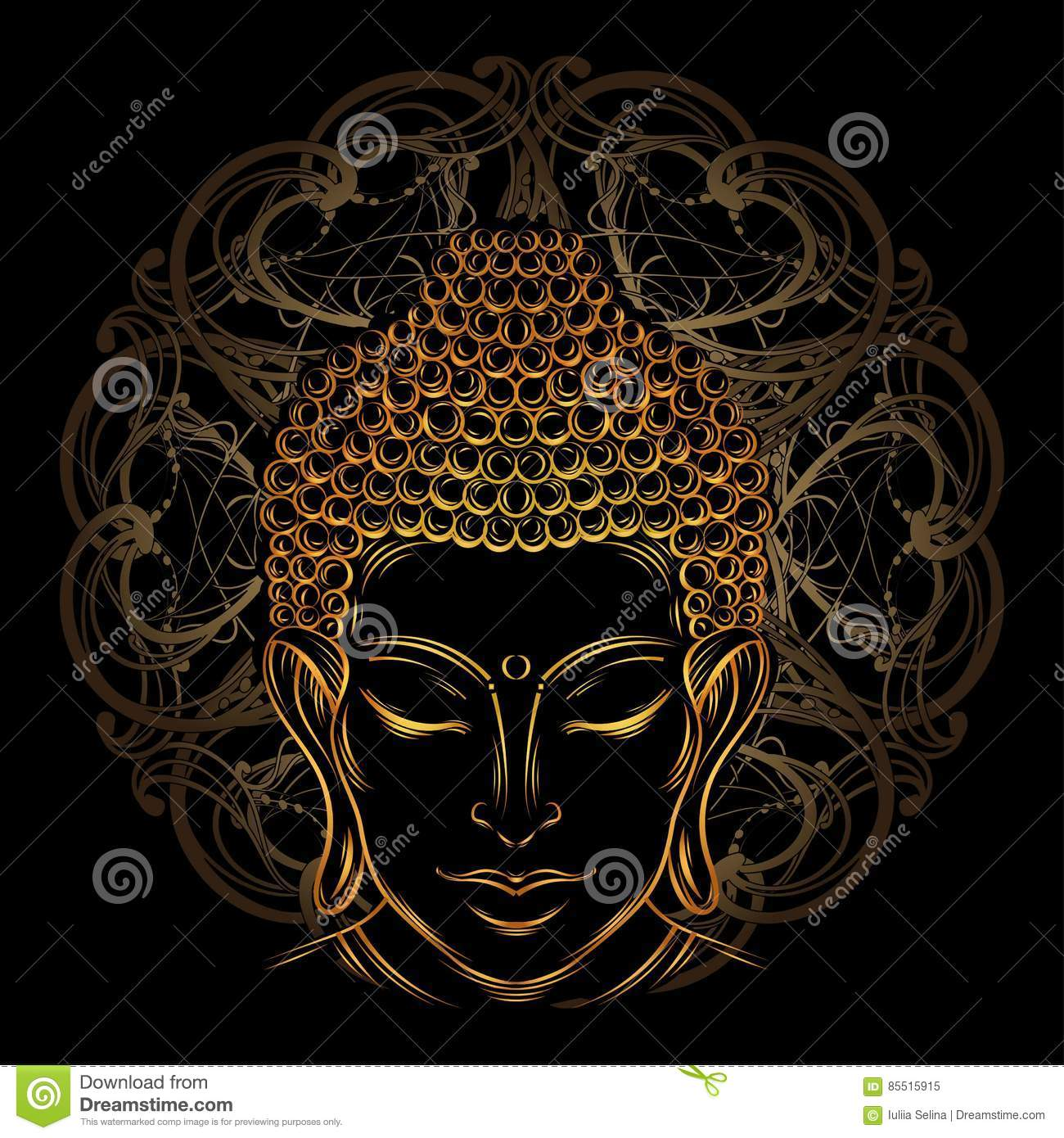Buddha`s head tattoo stock illustration  Illustration of