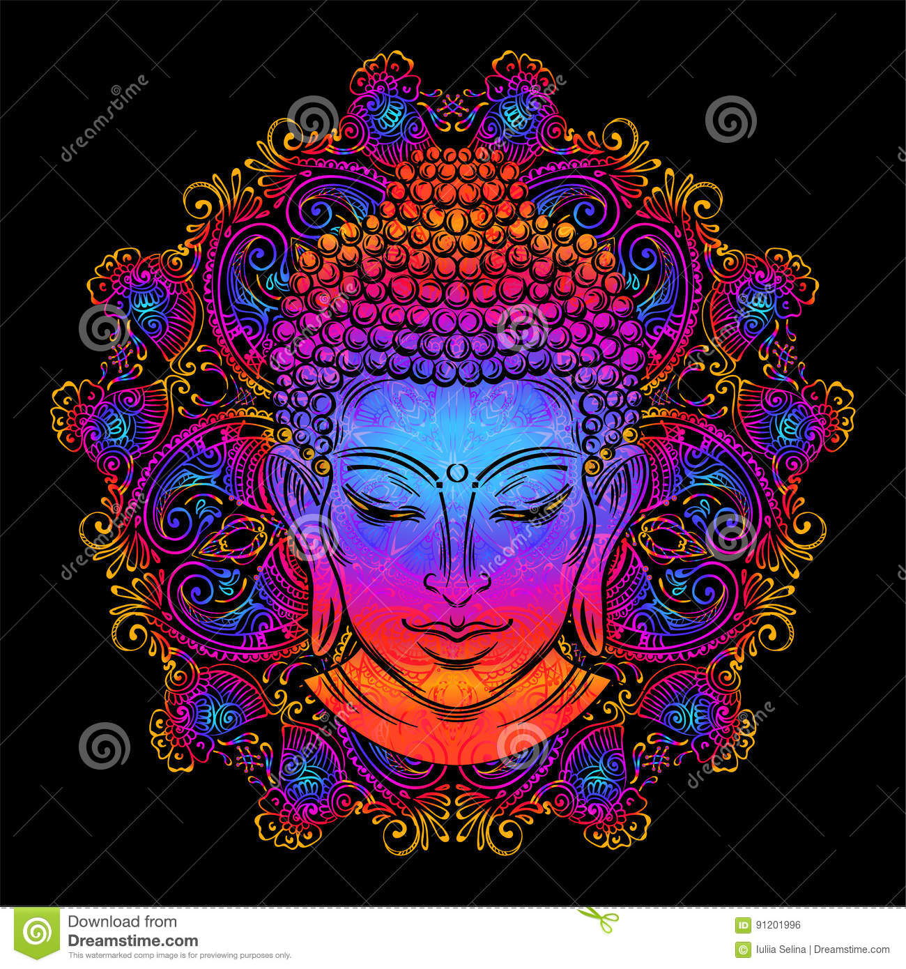 Buddha`s head tattoo stock vector  Illustration of detail