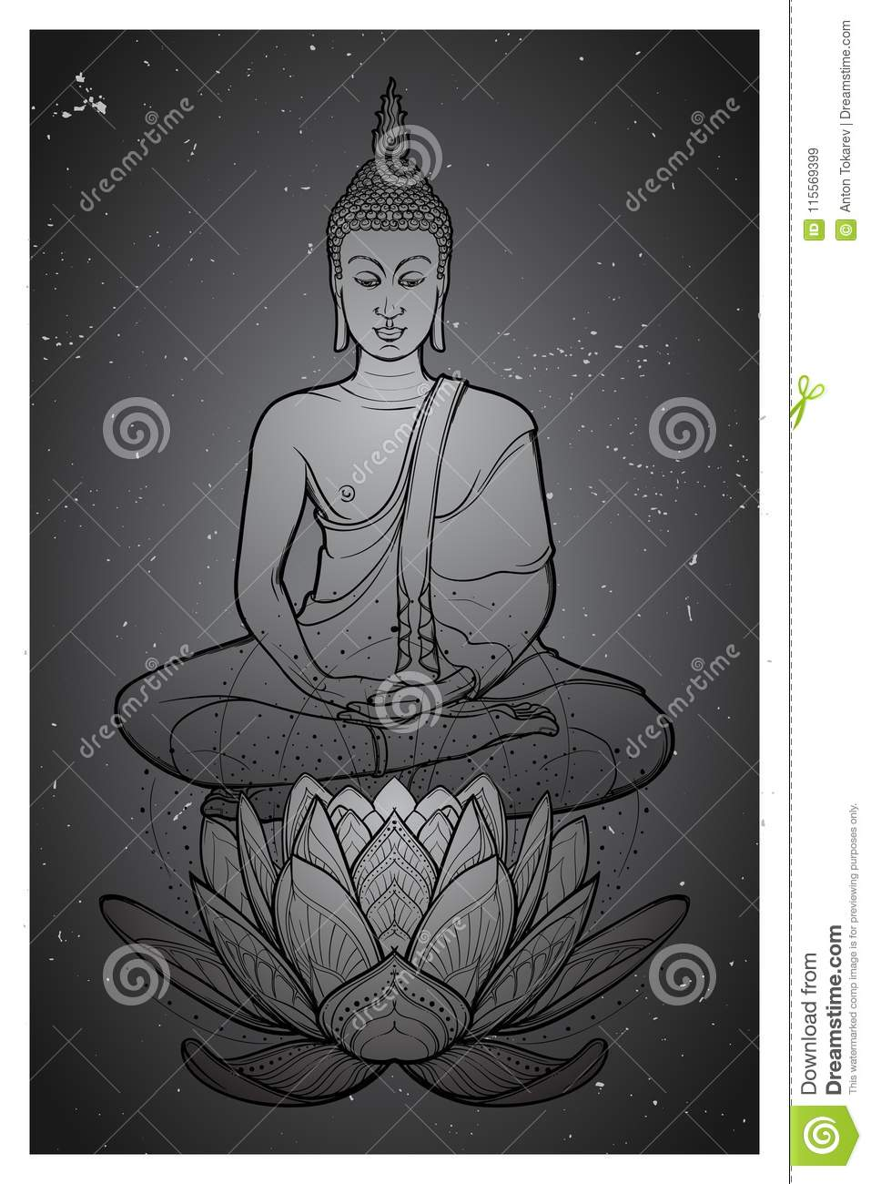 Buddha sitting on a lotus flower and meditating in the single lotus download buddha sitting on a lotus flower and meditating in the single lotus position intricate izmirmasajfo